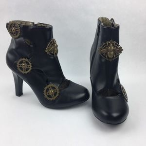 Demonia Boots Ankle Gear Black Bee Steampunk Goth